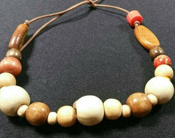 Wooden beaded leather chocker