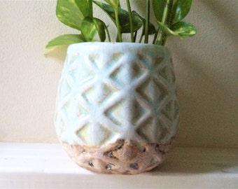 pale aqua blue ceramic pot, beach house decor, aged finish planter, SALE