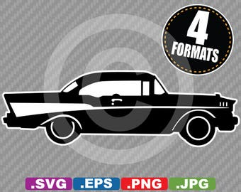 1957 Chevy Bel Air Silhouette Clip Art Image - SVG cutting file Plus eps(vector), jpg, & png