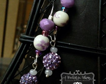 Purple/Lavender and White Kidney Wire Earrings