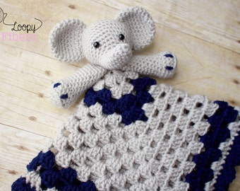 Crochet Elephant Lovey/ Crochet Security Blanket/ Baby Boy Lovey/ Comfort Blanket / Baby Elephant Blanket/ Photo Prop /  Made to Order