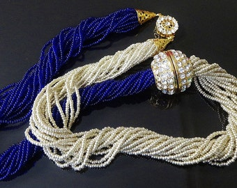 Hand Made Necklace 16 Strand Royal Blue and Silvery Gold Seed Beads Gold Tone Rhinestone Barrel Centrepiece Sparkling Round GT Clasp