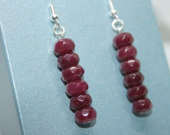 Ruby Drop Earrings, Sterling Silver Earrings, Birthstone Jewelry, Dangly Earrings, July Birthstone Jewellery, Ruby Red