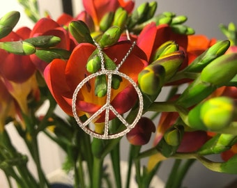 diamond peace necklace