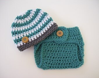 Baby Boy Outfit, Crochet Boy Outfit, Baby Photo Prop, Hat and Diaper Cover, Aqua Grey White, Baby Shower Gift, Coming Home Outfit, Baby Boy