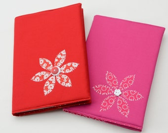 A5 Fabric covered notebook with flower design
