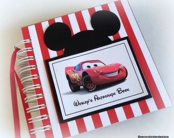 Boys fave! PERSONALIZED Disney Autograph Book Scrapbook Travel Journal Vacation Photo Album