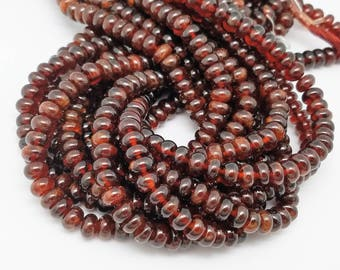 8 mm , Hessonite Garnet Smooth Button, 15 Inch