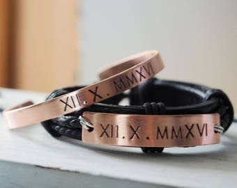Personalized Couples bracelets set, couples gift sets, roman numeral bracelets, boyfriend bracelet, girlfriend bracelet, Personalized gifts
