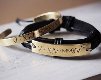 Gold Couples bracelet, Matching couple bracelets, Anniversary date bracelets Roman numeral anniversary gift Personalized mens gift bracelet