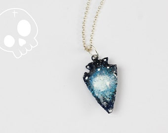 Necklace Galaxy Arrow * Stone Painting Handmade * Star * Space * Nebula * Astronomy * Silver Sterling * Pendant * Constellation * Magic *