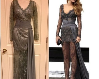 Gray Beaded Lace Chiffon Illusion Gown Blake Lively Red Carpet Dress