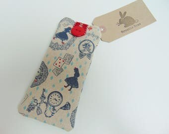 Handmade Alice In Wonderland Glasses Case, Alice Sunglasses Case, White Rabbit and Diamonds Pouch or Sleeve
