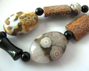 Group of beads, 13 beads, Ocean Jasper, black Onyx, Elephant Jasper, Jewelry supply B-1733
