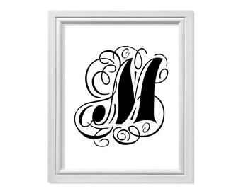 M initial, M Monogram, M Letter, M print, M Art Black Print, Black Printable, M Printable, M Wall Decor, M Wall Art, Black Monogram