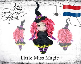 "Haakpatroon voor de pop ""Little Miss Magic"" kleine heks eBook PDF (dutch) Halloween"