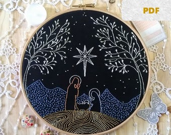 embroidery pattern pdf - hand embroidery - pdf pattern - embroidery hoop art - Nativity - Embroidery design