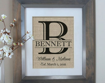 Unique Wedding Gifts For Him And Her : burlap wedding gift monogram personalized wedding gifts for couple ...