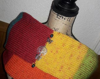 Knitted Infinity Scarf // Tree of Life // Rainbow // knitted cowl // gift for her