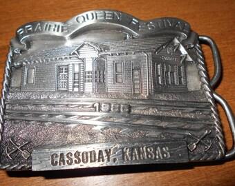 1985 Prairie Queen Festival Belt Buckle - Santa Fe Railroad Depot  Cassoday KS