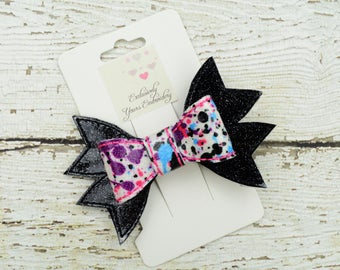 Paint Splatter Hair Bow - Cheer Bow - Pink, Purple, Blue, Black Bow - 4 inch - Specialty Bow - Hair Accessory - Hair Clip
