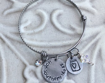 Southern Sassy Hand Stamped  Stainless Steel Pewter Expandable Bangle Bracelet
