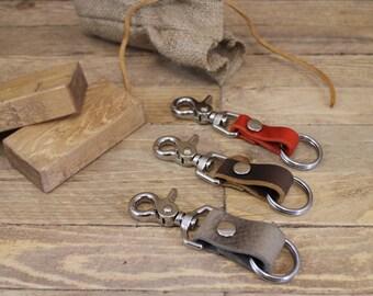 Leather key holder, Keychain, FREE phone tag, Belt loop leather key fob, Handmade lanyard, Key ring, Unique key holder, Gift.