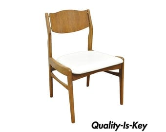 Vintage Young Mfg Mid Century Danish Modern Walnut Teak Curved Dining Side Chair
