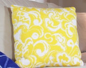 Balinavia Yellow and White Original Knit Print Boho Chic Couture Unique 18 inch Throw Pillow Modern Paisley Leaf Pattern Fresh Accent Pillow