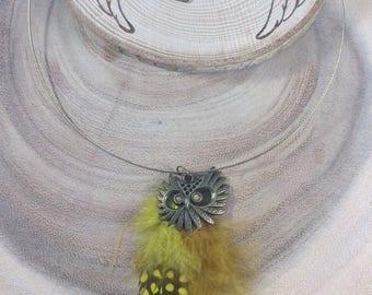 Feather necklace, Owl necklace, Owl, Owl jewellery, Owl charm, Owl gift, Necklace, Feather charm, Choker, Owl choker, Boho, Nature, OOAK