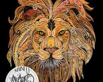 "Quilled Paper Art Print | ""Hear Me Roar"" Original Quilled Lion"