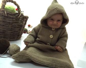 Merino wool knitted baby bunting bag