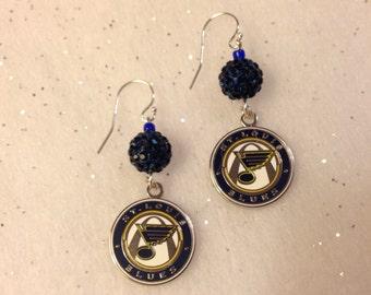 Beautiful St. Louis Blues dangle earrings.