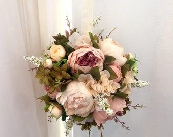 Peony Kissing Ball, Blush Kissing Ball, Blush Peony Pomander, Peony Bridal Bouquet, Peony Arrangement, Peony Centerpiece, Wedding Centerpiec