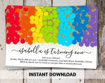 Gold Glitter & Rainbow Invitation Template - Girl Calligraphy and Confetti Birthday Party - Instant Download Digital File for Photo Prints