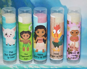 Moana Lip Balm Set, Moana Birthday Party Favors, Moana Handmade Lip Balm, Moana Birthday, Moana present girl, Moana Lip Balm