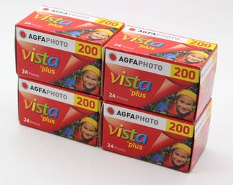 A pack of four AGFA 35mm Colour Film Vista Plus 200 Rolls with 24 photos on each roll (96 pictures in total) - Process before July 2018