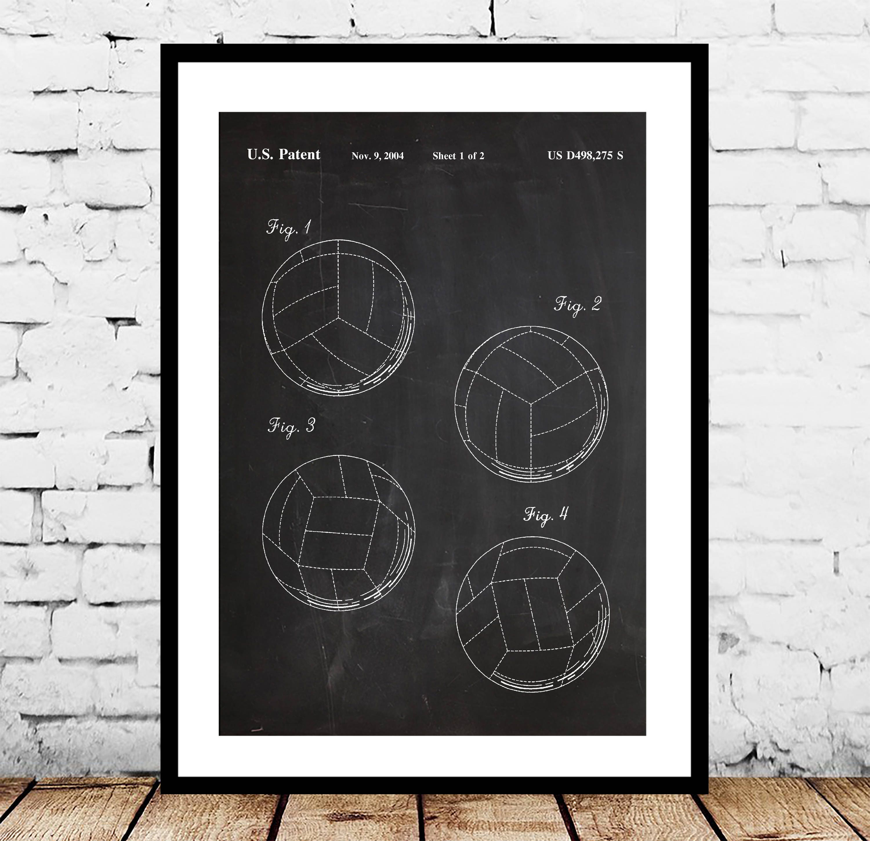 volleyball patent volleyball poster volleyball blueprint