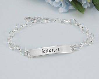 Sterling Silver Blank Charm Bracelet With Name Bar, Create Your Own Charm Bracelet, Blank Bracelet, Silver Bracelet, Name Bracelet