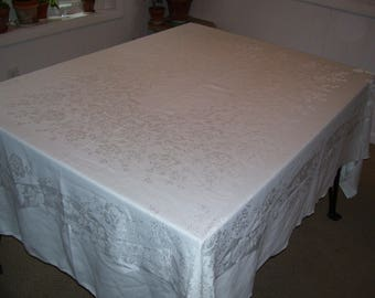 White Damask Tablecloth, Large White Tablecloth, CLEAN 62x80 Vintage