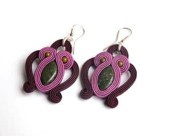 """Earrings made with the soutache embroidery technique with jasper. """"Gia"""""""
