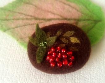 Felted Brooch Rowan - Felted Jewelry - Handmade Brooch - Gift for Her