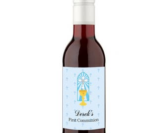 12 Personalised First Communion Wine Favours - 187ml