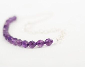Silver and Amethyst Bracelet, Chain Bracelet, Amethyst Bracelet, February Amethyst Birthstone, Silver Bracelet, Natural Stone