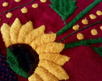 Hand Embroidered Guatemalan Folk Art Textile with Flowers and Traditional Woven Borders