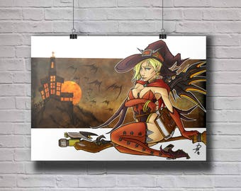 Overwatch Mercy - Halloween Skin A4 Original Art Print