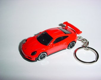 3D Porsche 911 GT3 RS custom keychain by Brian Thornton keyring key chain finished in red color trim diecast metal body