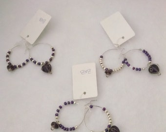 Wine Glass Stem Charms - Set of 6 Amethyst and Silver - Hearts