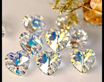Pairs Of Swarovski Crystal Heart Charms - 14mm Austrian Crystal AB Crystal Heart Charms