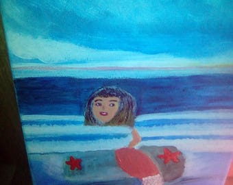 Mermaid Swimming in the sea Hand Painted On A Canvas